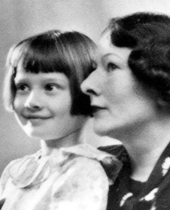 Young Audrey with her mother